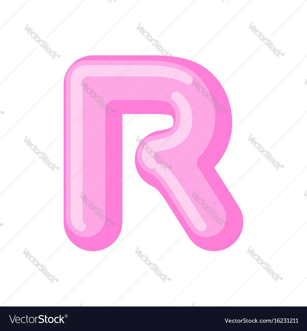 Letter r candy font caramel alphabet lollipop vector image