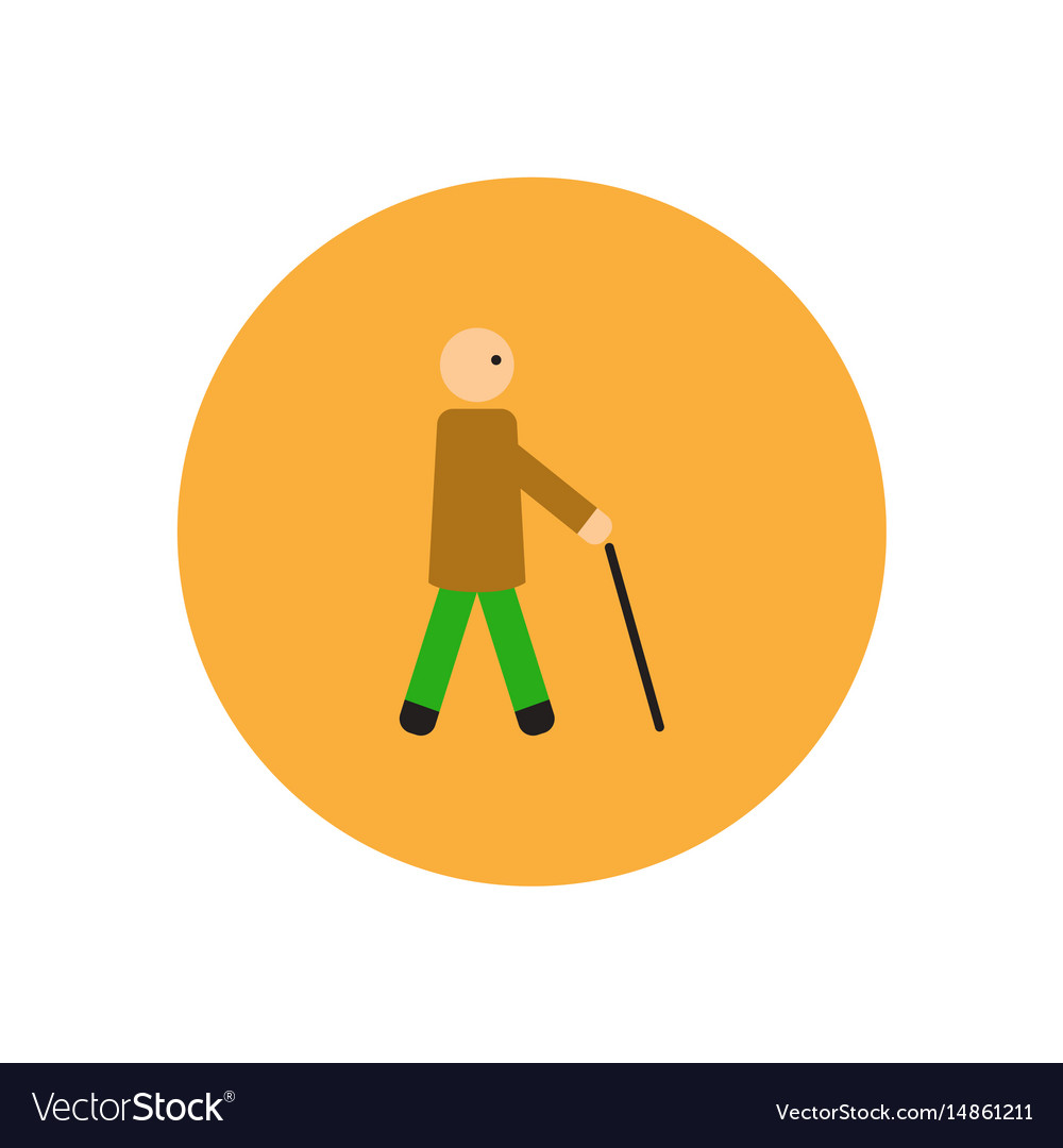 Stylish icon in color circle man with stick