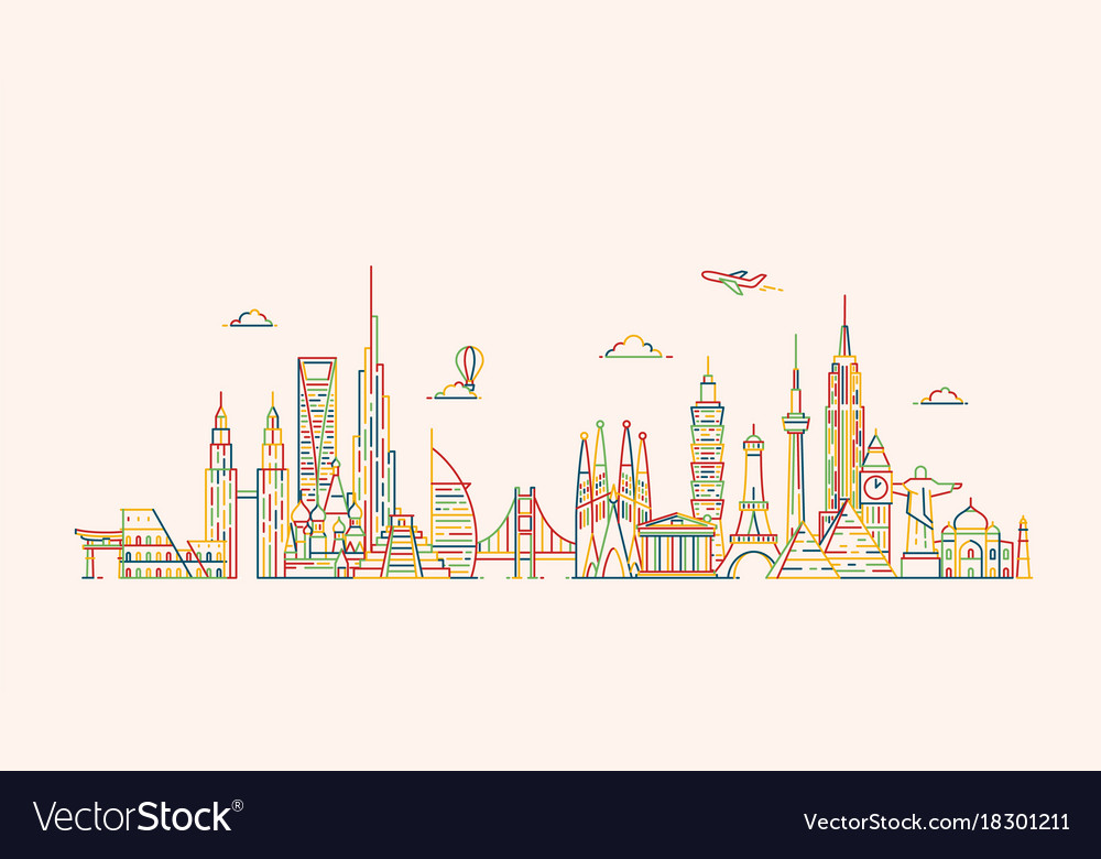 World skyline in outline style vector image