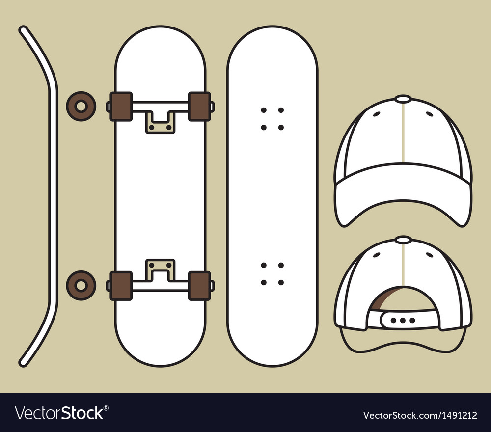 Set of blank skateboard and cap templates vector image for Longboard template maker