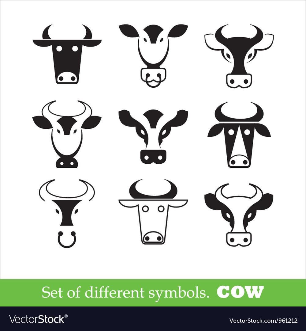 Symbols cow set vector image