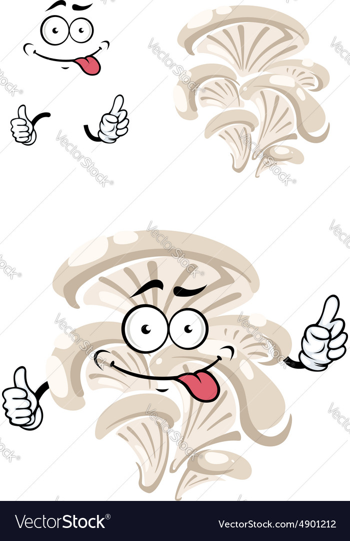 Cartoon funny oyster mushroom character vector image