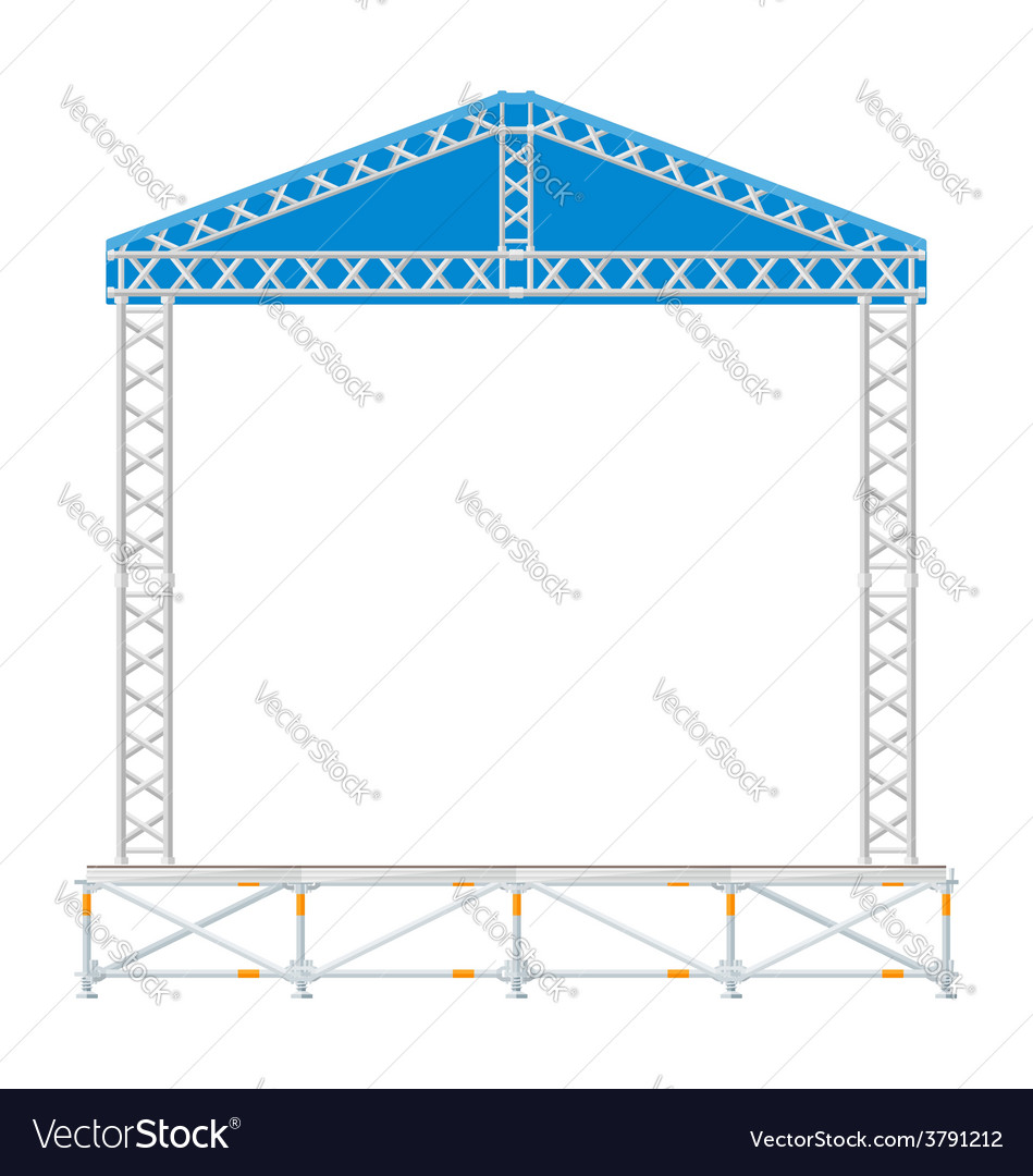Color flat design sectional concert metal stage vector image