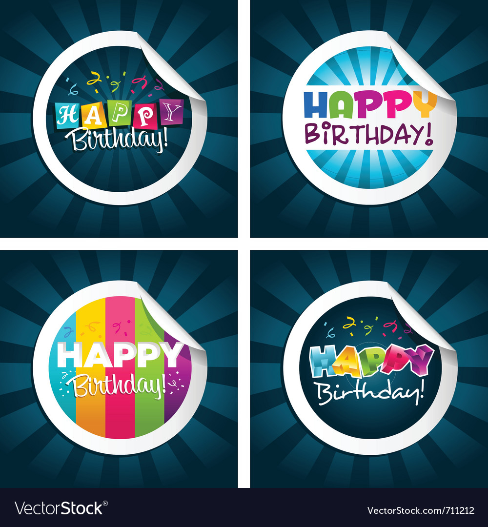 Happy birthday stickers vector image