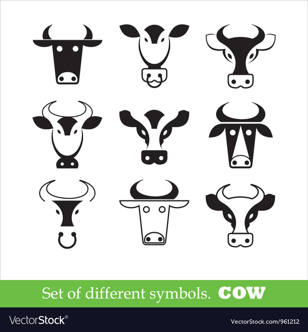 Symbols cow set vector image