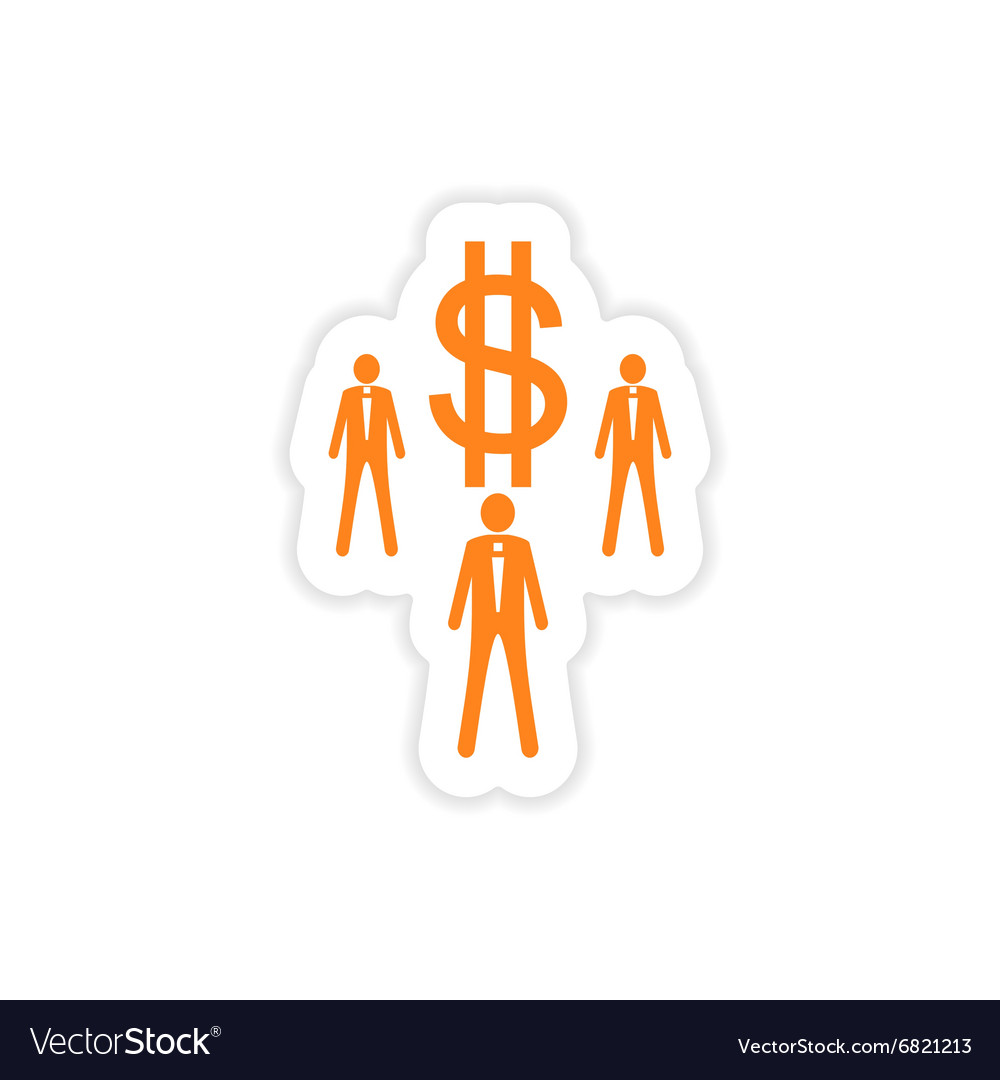 Stylish sticker on paper businessmen and dollar