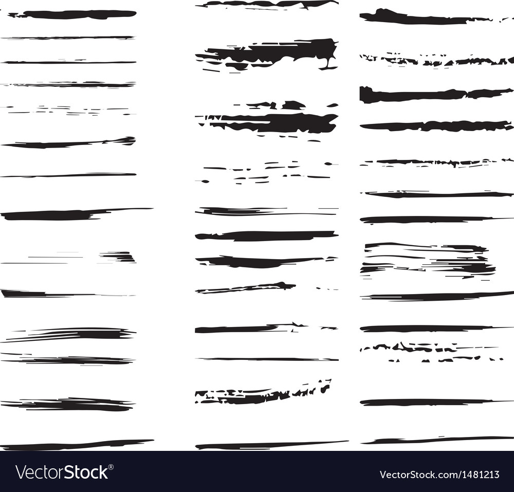 Collection of design elements Grunge brush strokes vector image