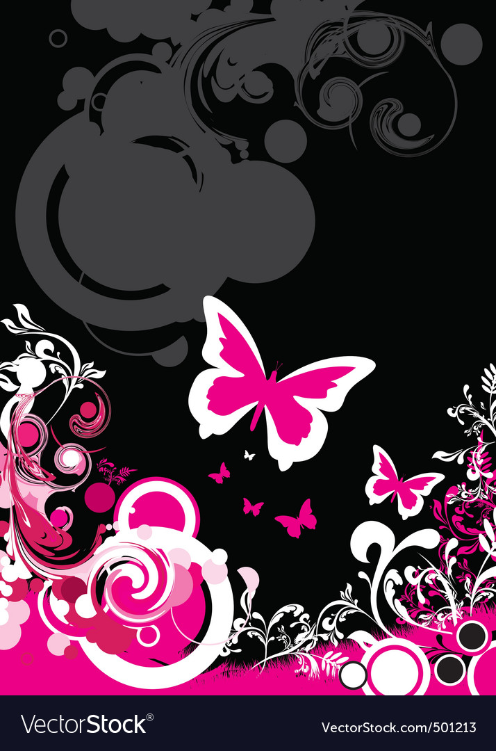 Floral butterfly background vector image