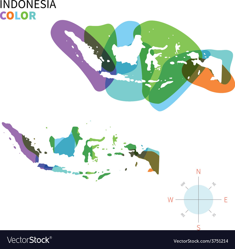 Abstract color map of Indonesia vector image
