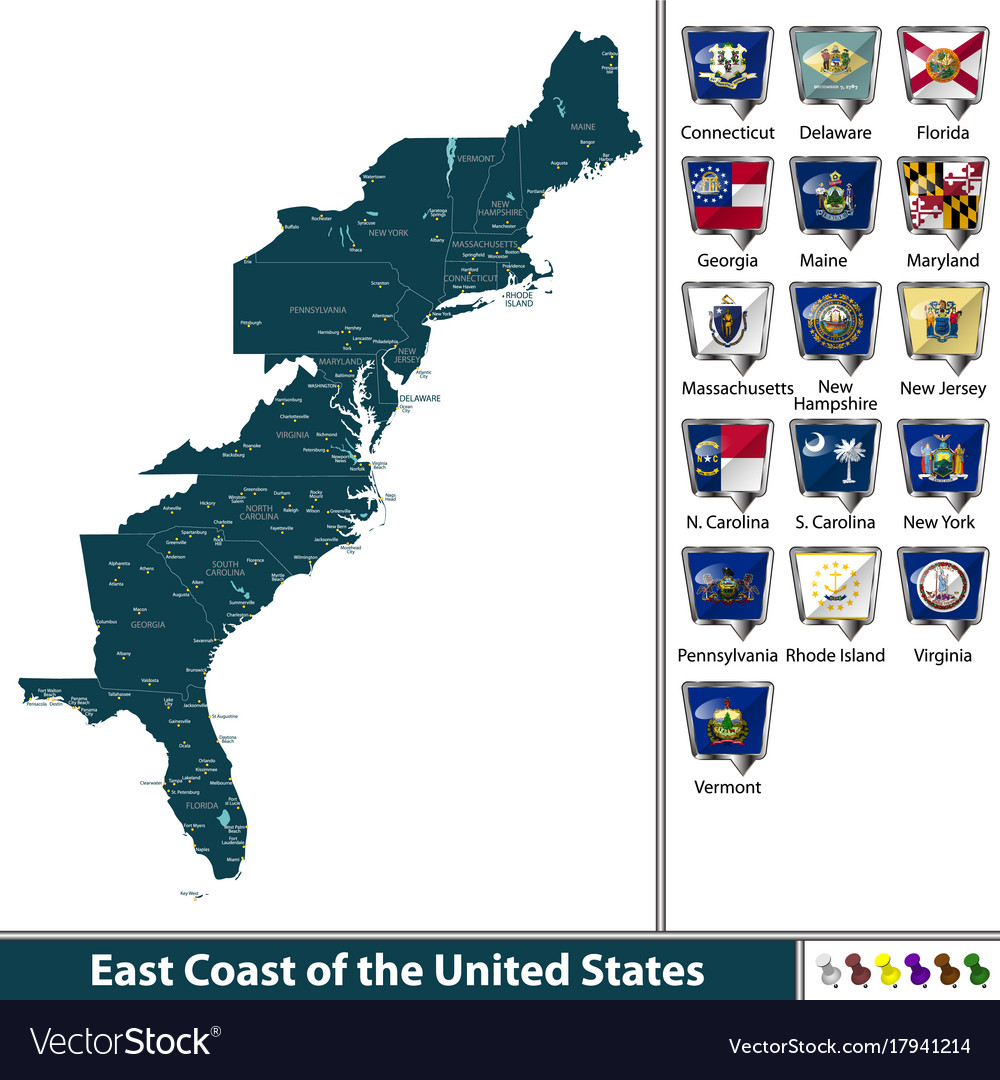 East Coast Of The United States Royalty Free Vector Image - East coast of united states