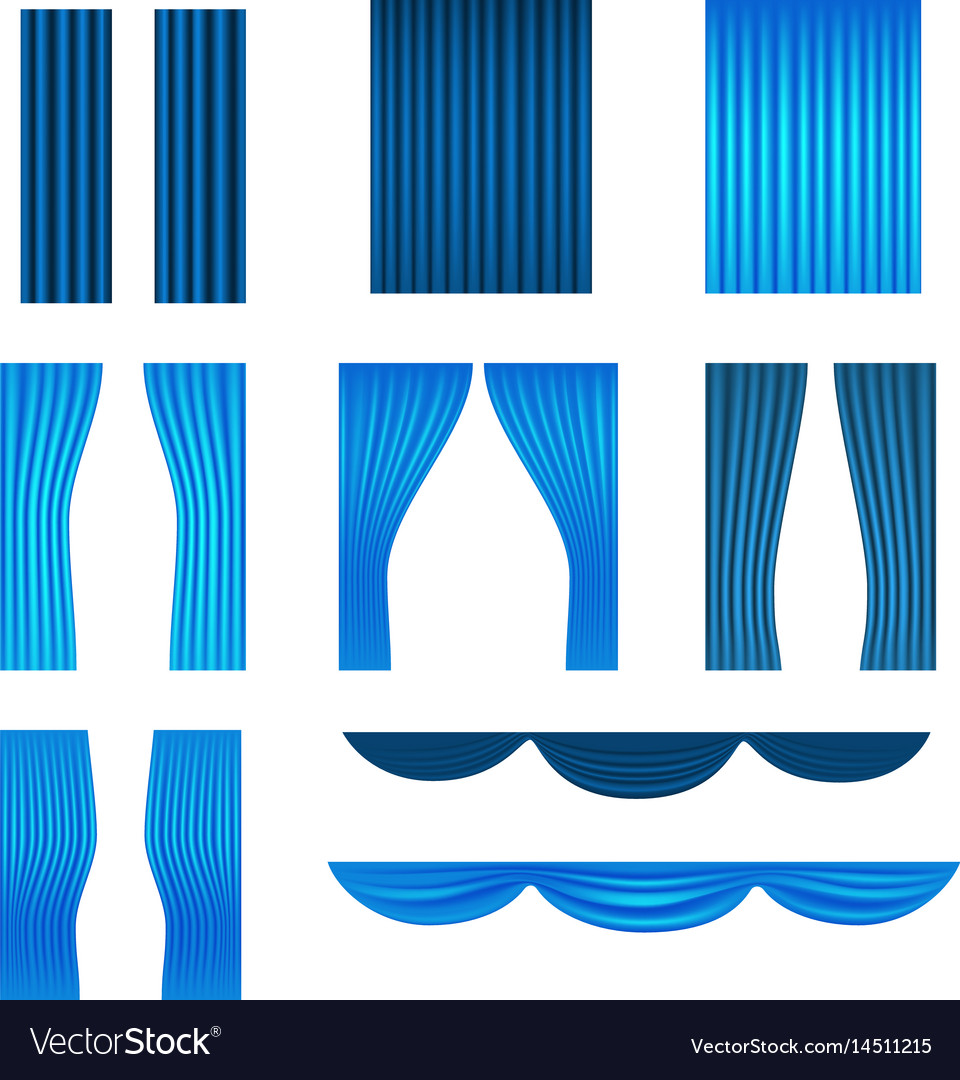 Different stage blue curtains collection vector image