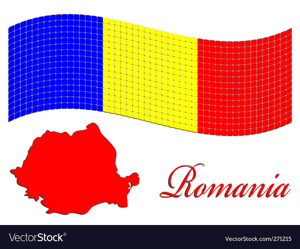 Romanian flag and map vector image