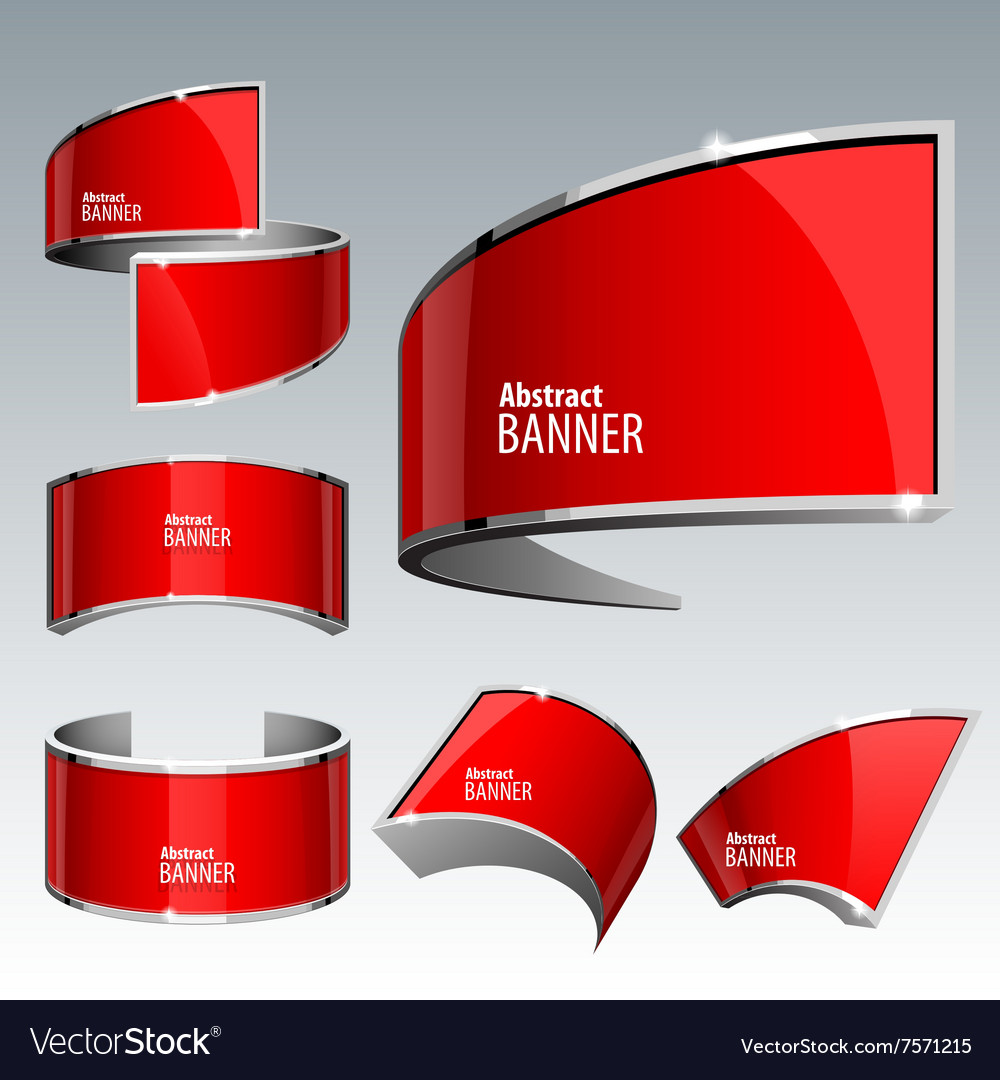 Shiny gloss red banner eps 10 vector image