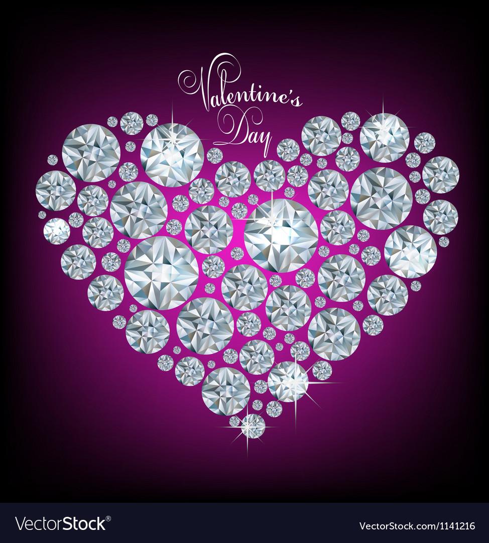 Diamond heart vector image