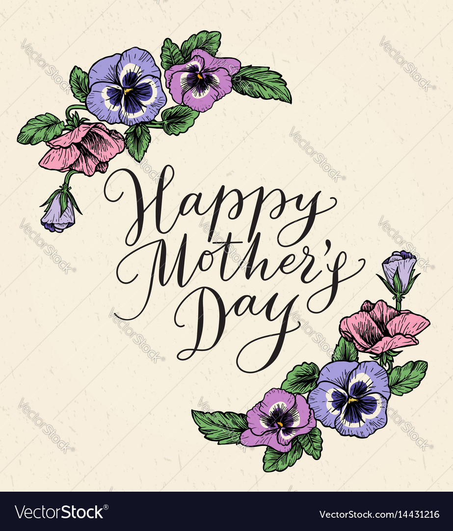 happy mothers day card with text and frame of vector image - Mothers Day Picture Frame