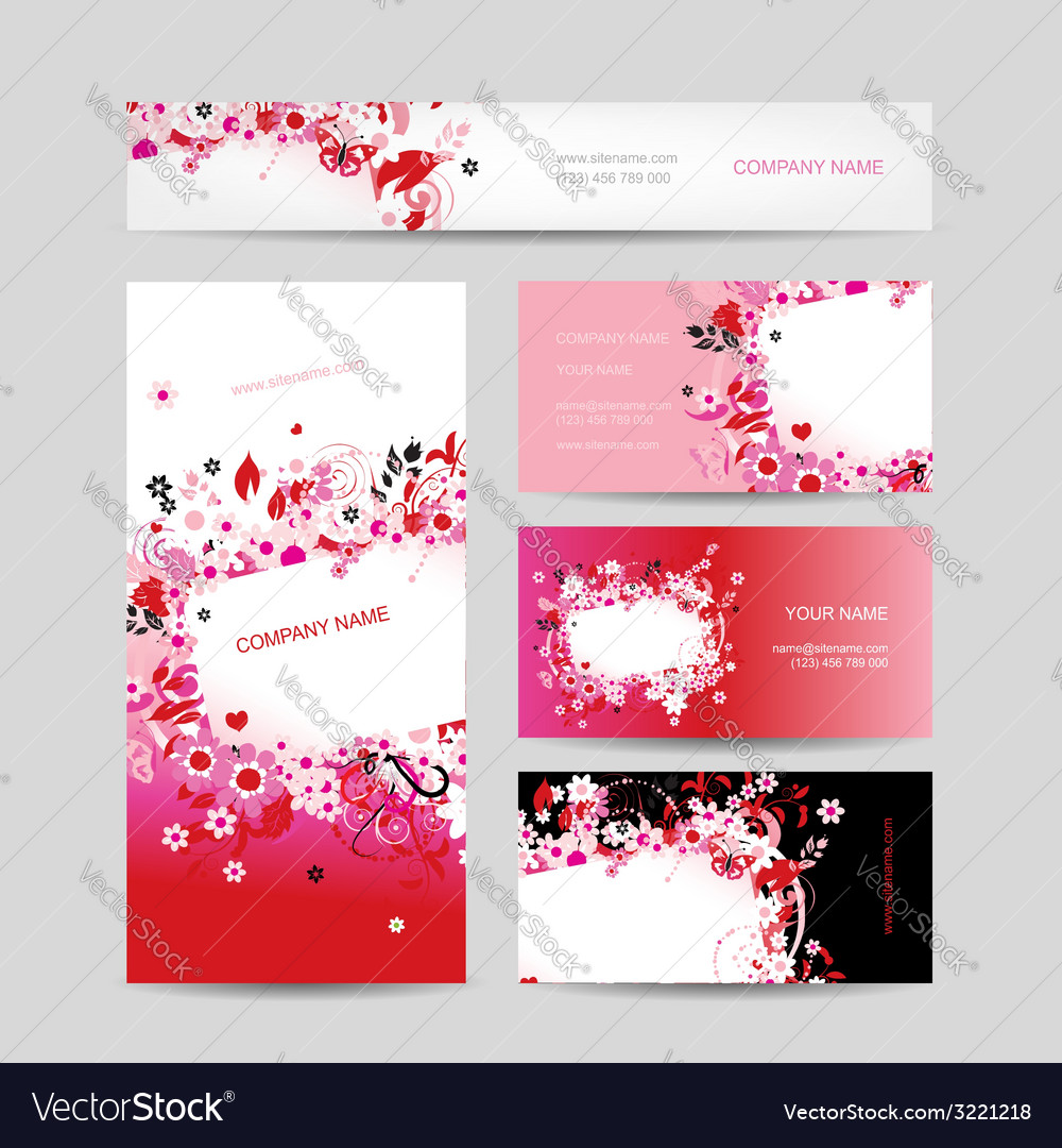 Business cards collection floral design Royalty Free Vector