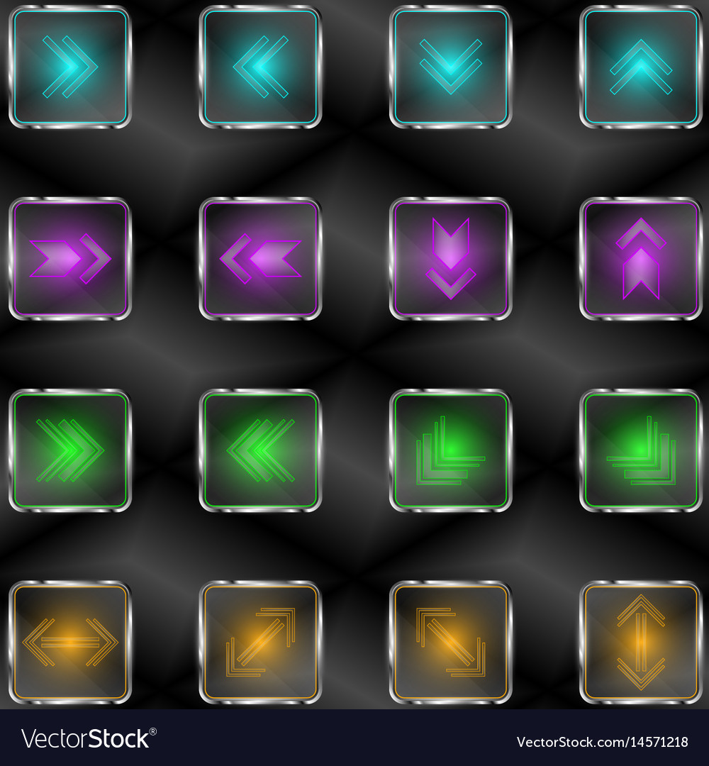 Squares with neon lights and arrow symbols vector image