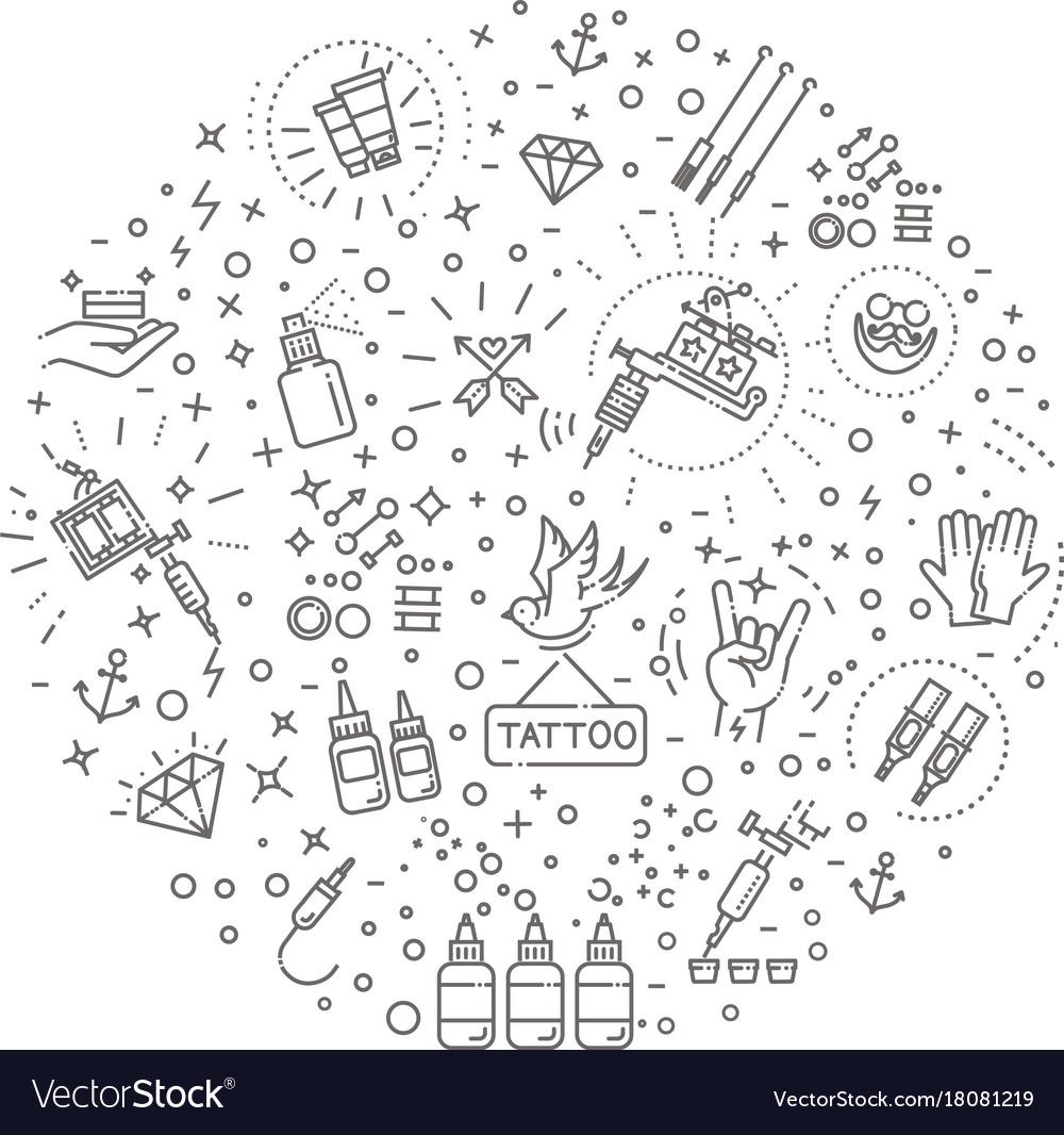 Set of web line icons - tattoo salon vector image