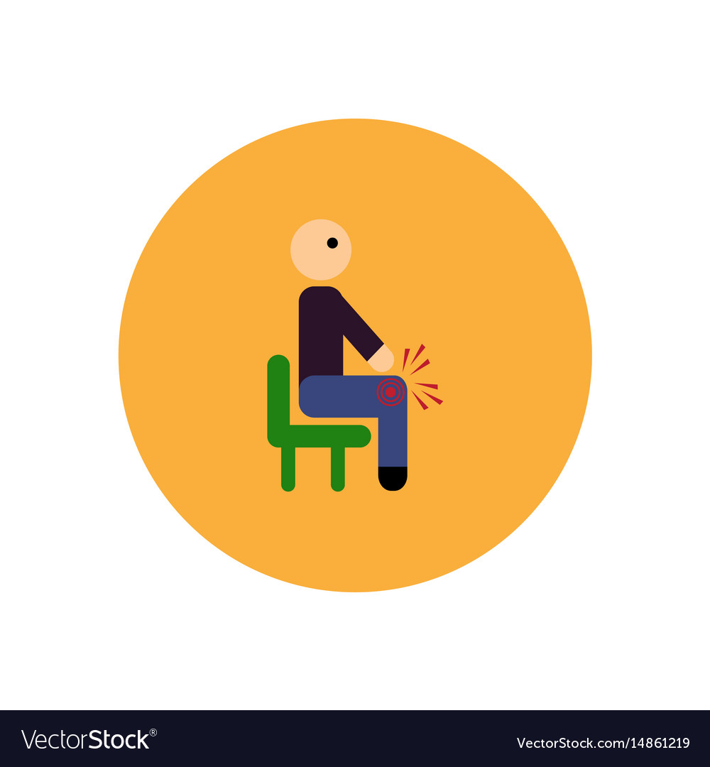Stylish icon in color circle man knee pain
