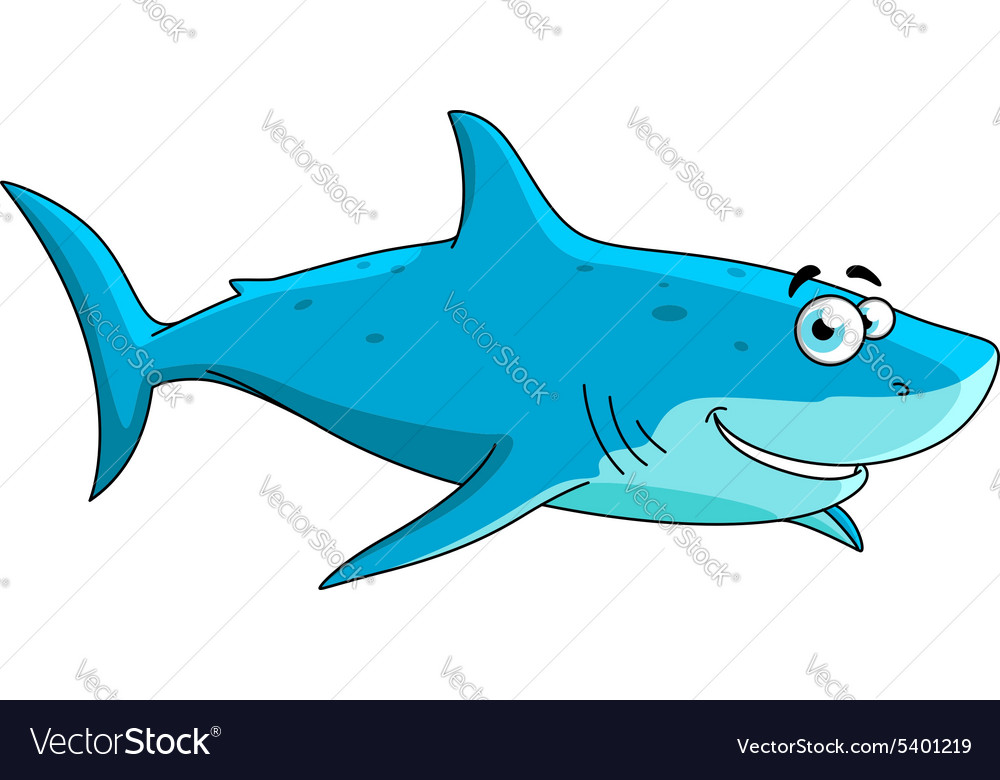 Swimming big shark cartoon character vector image