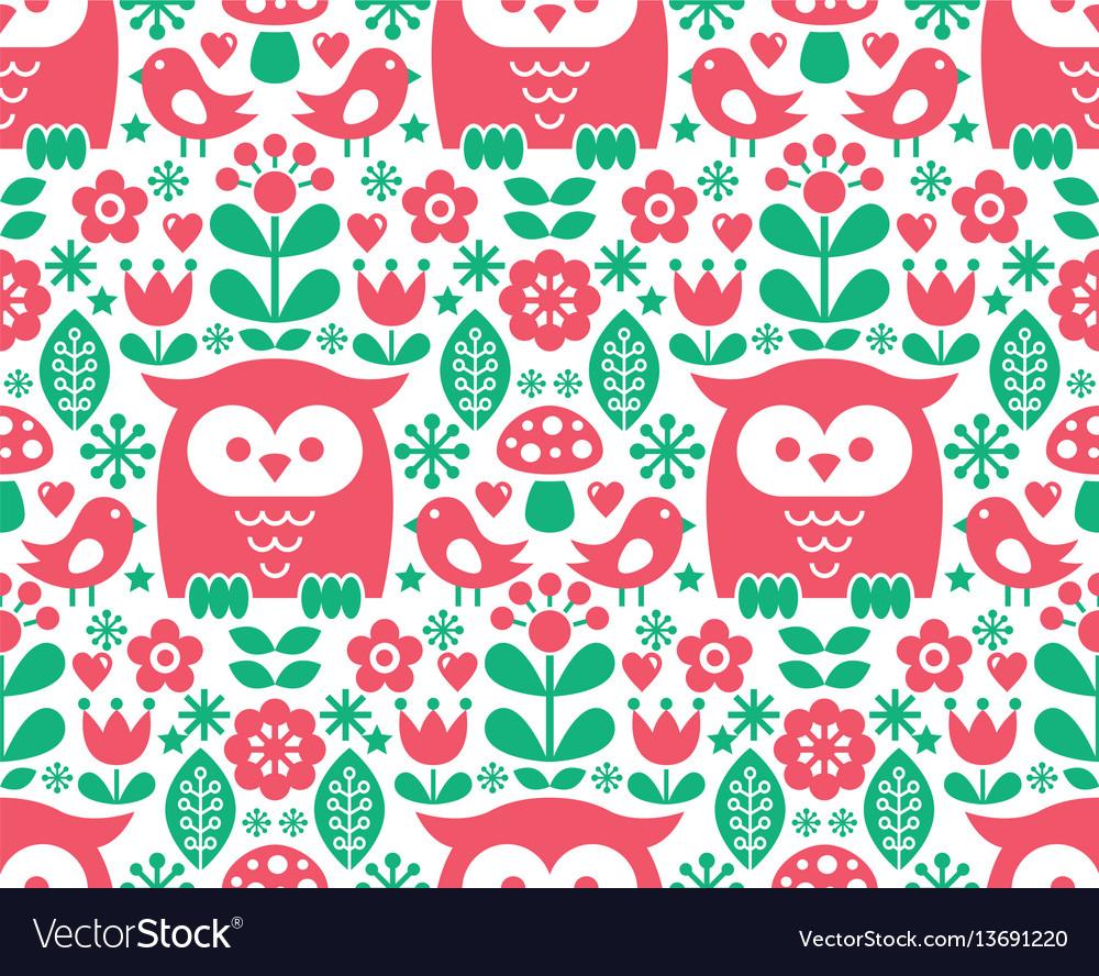 Seamless scandinavian pattern nordic folk art vector image