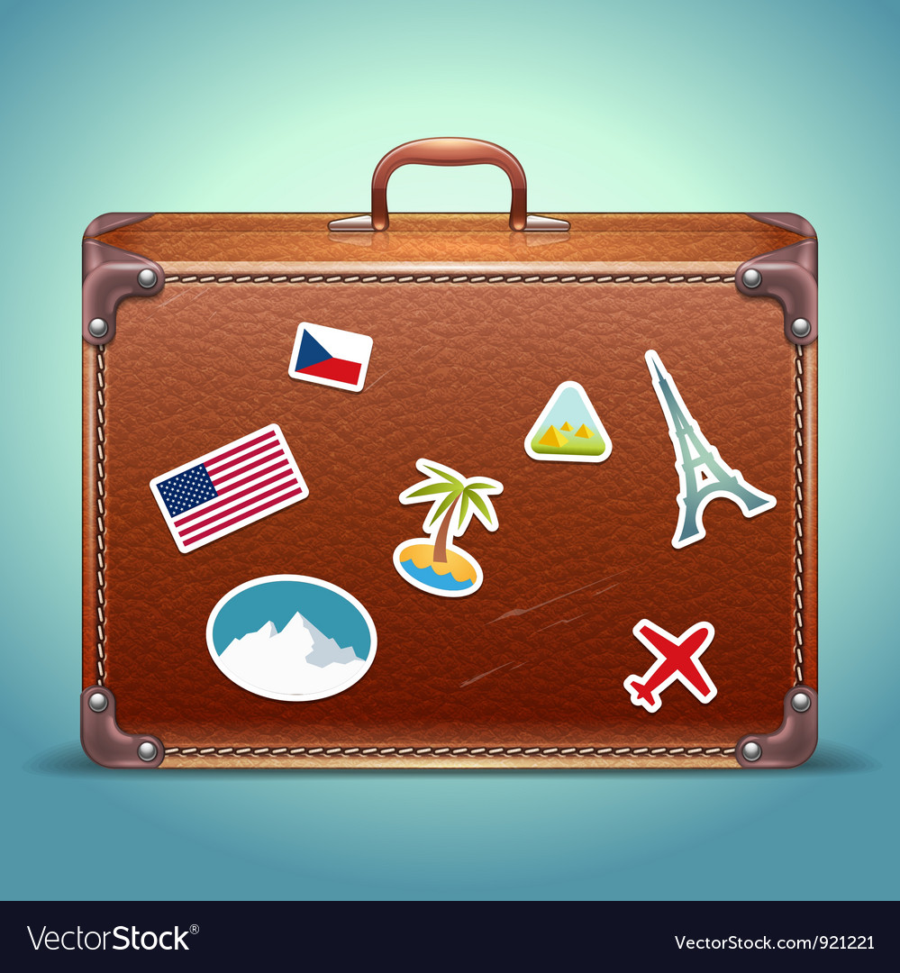 Leather Suitcase with Travel Sticker vector image
