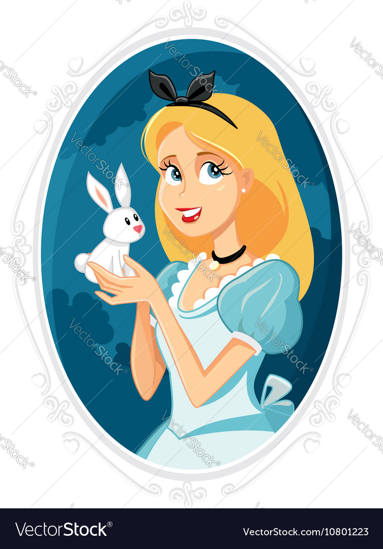 Alice in Wonderland with Little White Rabbit vector image