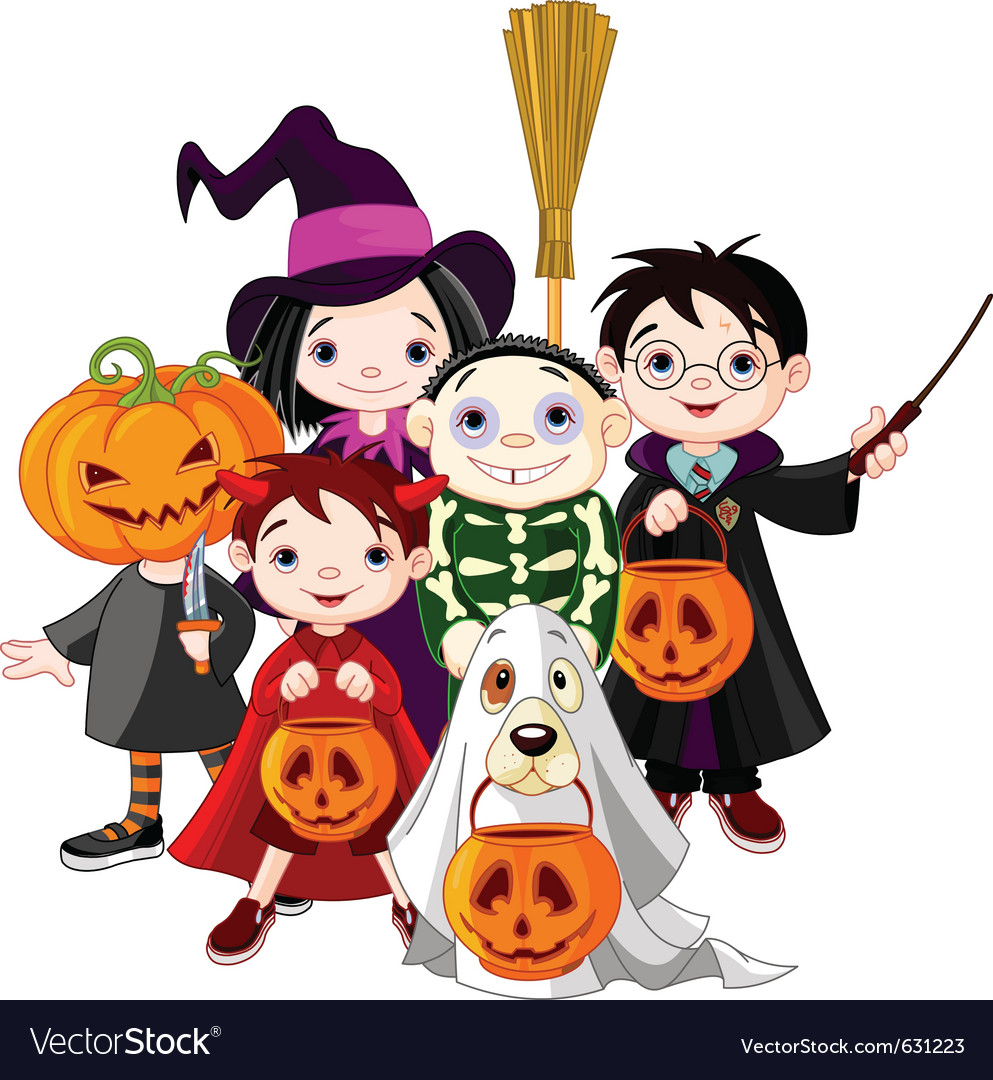Halloween children trick or treating in halloween vector image