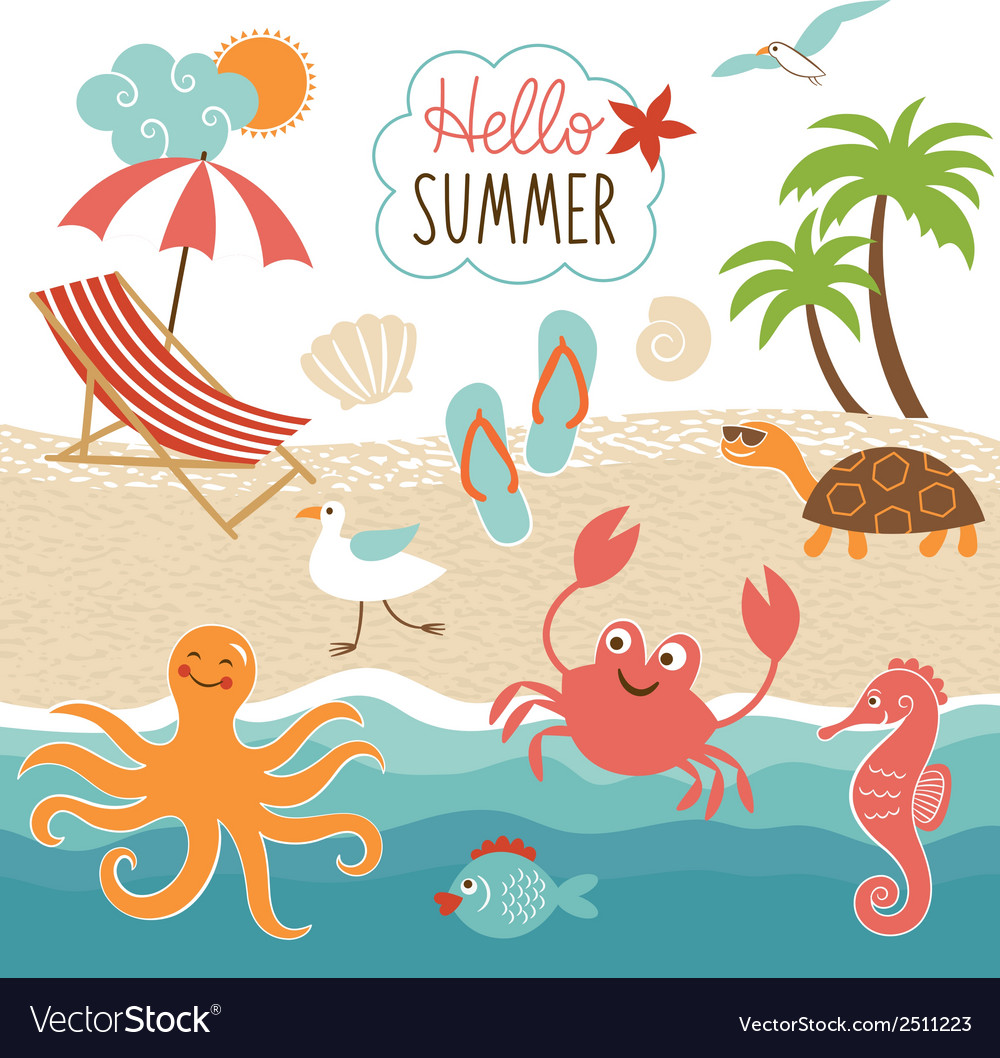 Summer images set vector image
