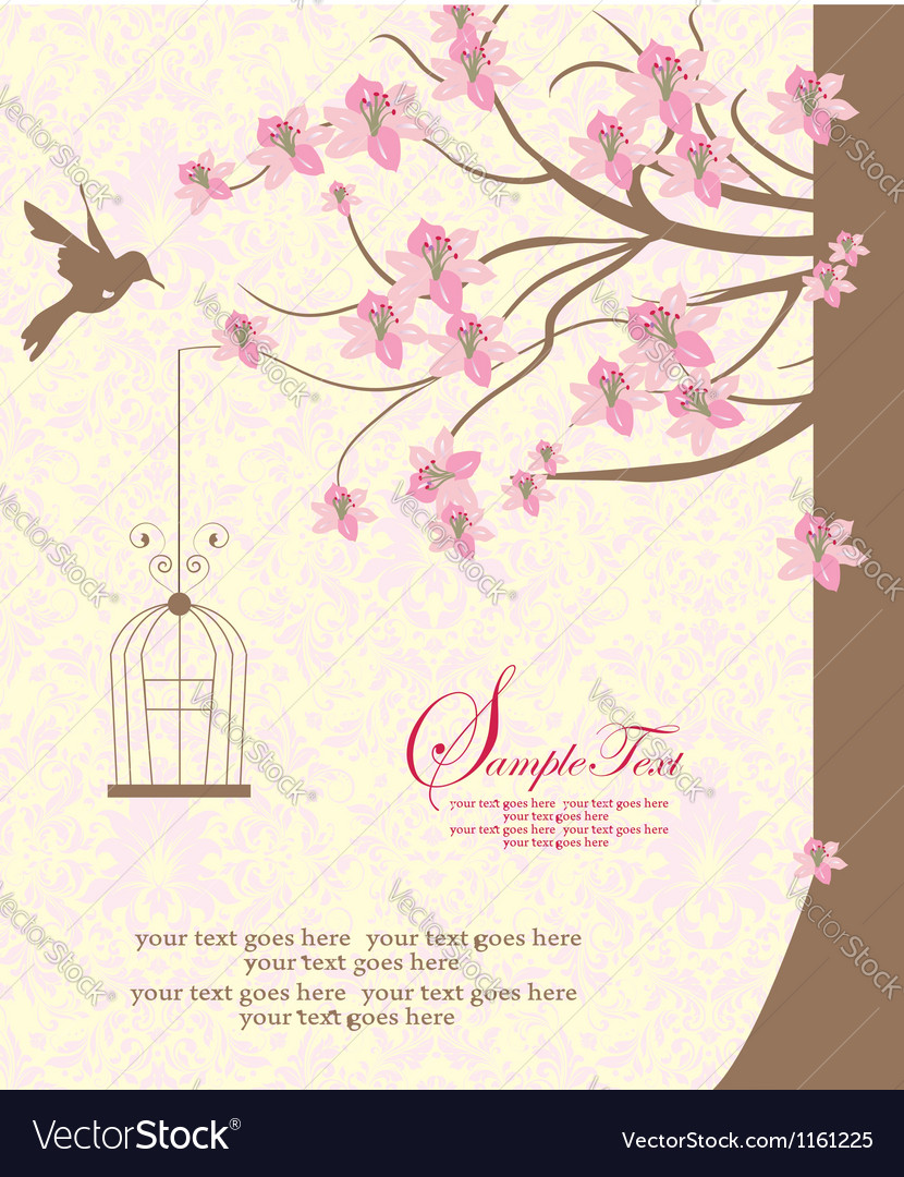 Bird cage hanging from branch vector image