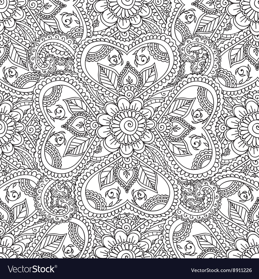 Coloring pages henna - Coloring Pages For Adults Seamles Henna Mehndi Vector Image