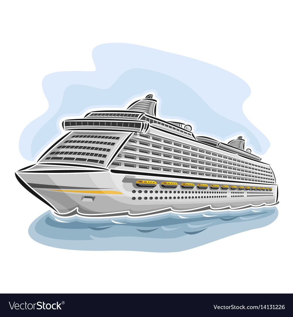 Cruise liner ship vector image