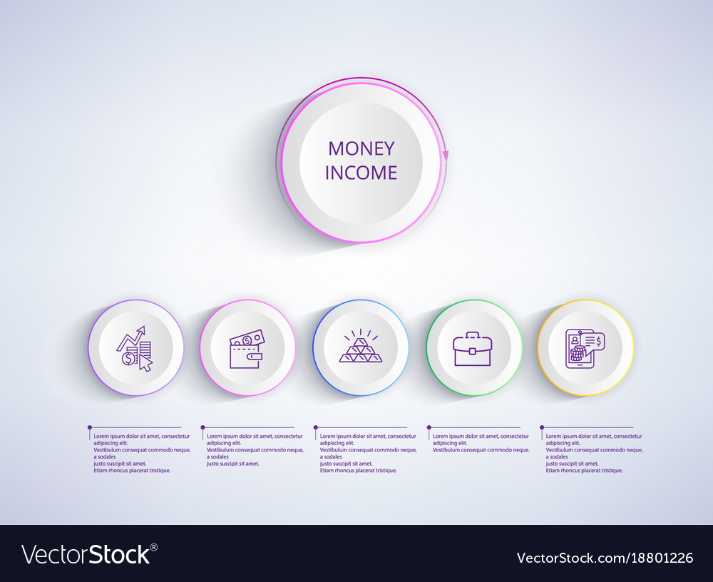 Money income with icons on vector image