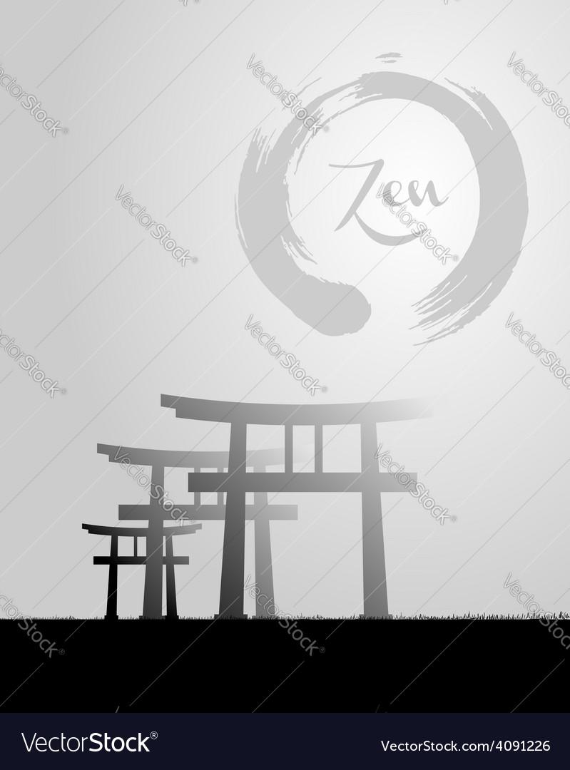 Zen circle and Japan scenery vector image
