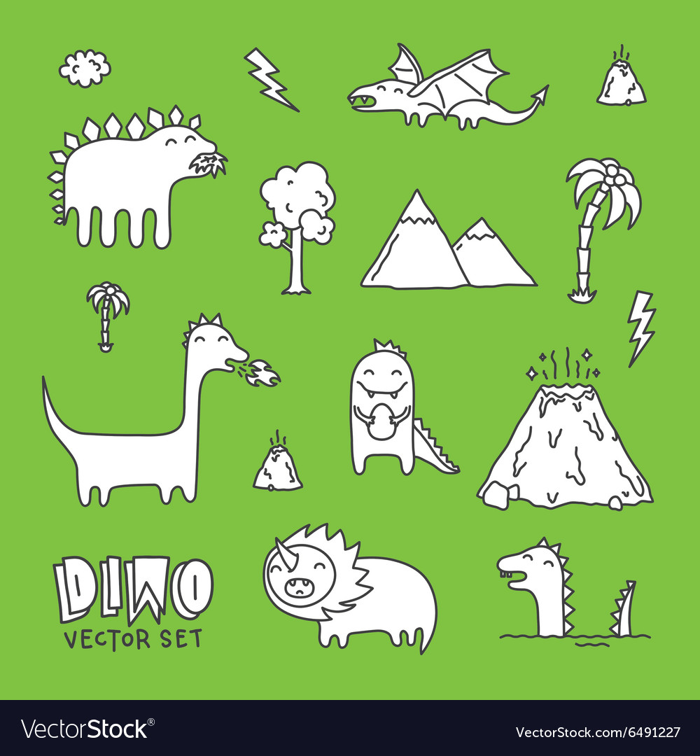 Dino cartoon set white vector image