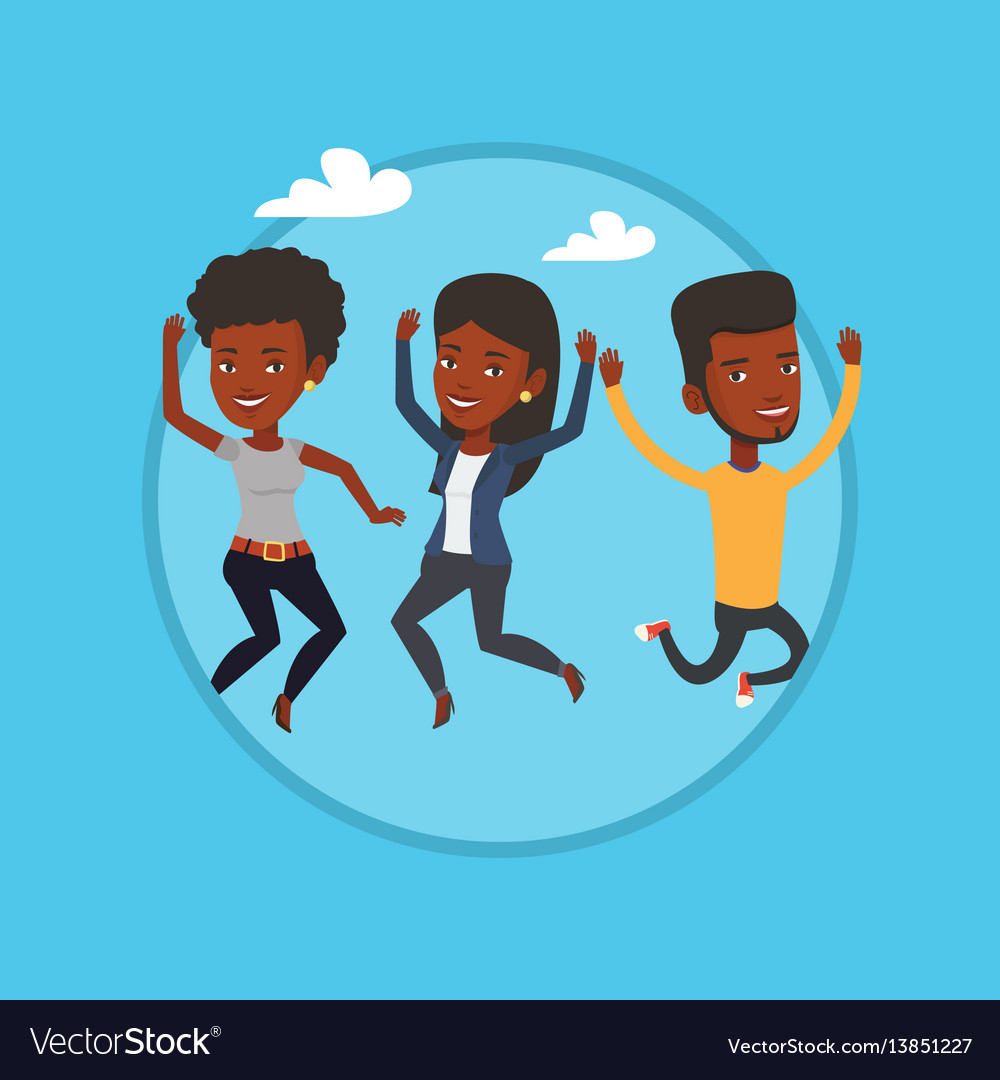 Group of joyful young friends jumping vector image