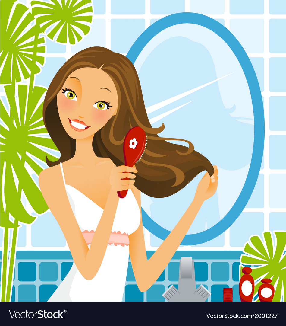 Hairbrush Woman vector image