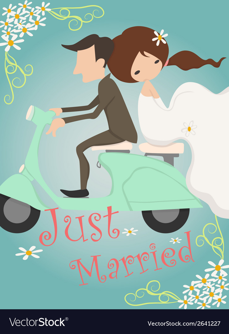 Just married wedding invitation card design vector image stopboris Image collections