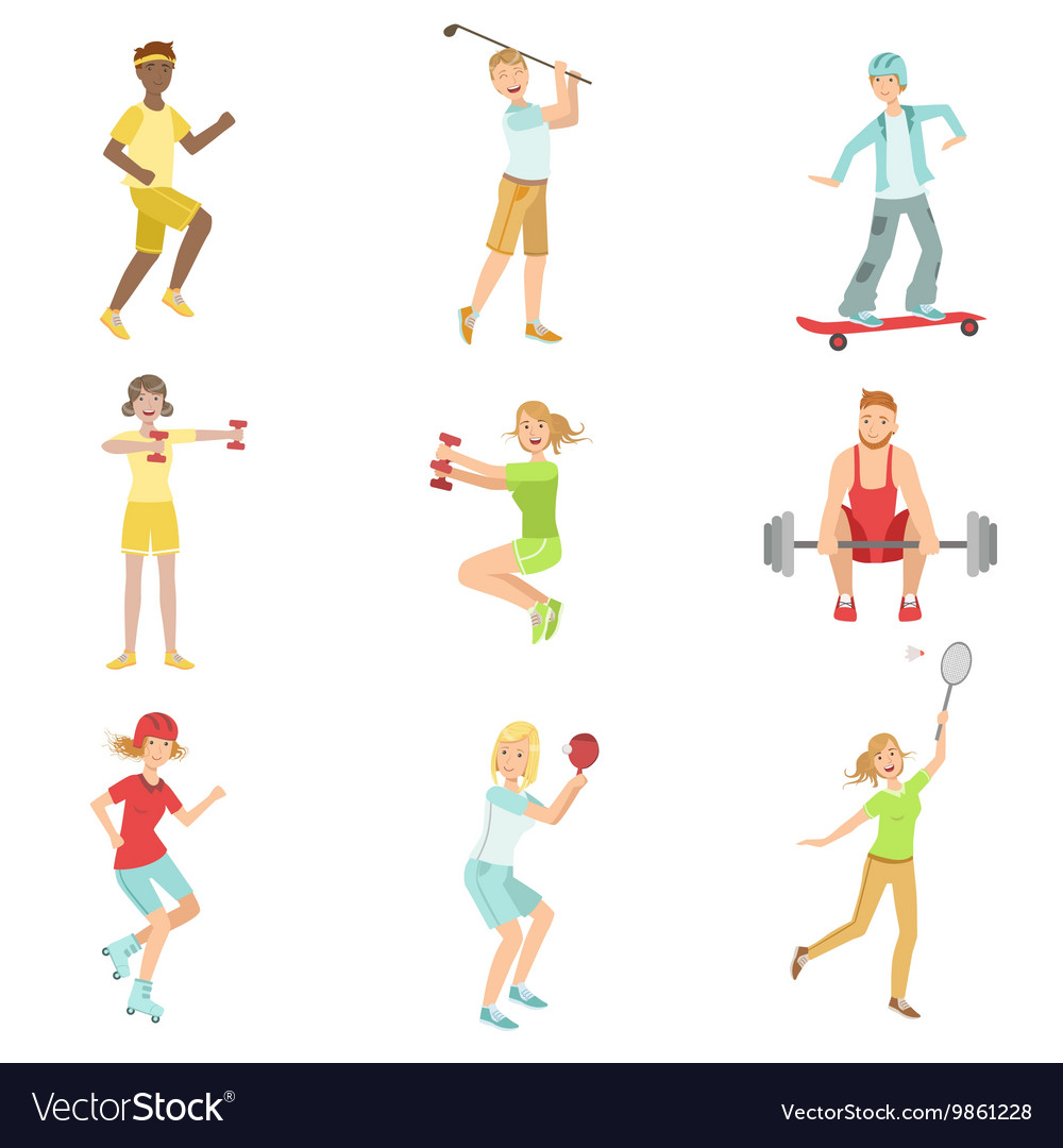 People Enjoying Sports Activities vector image