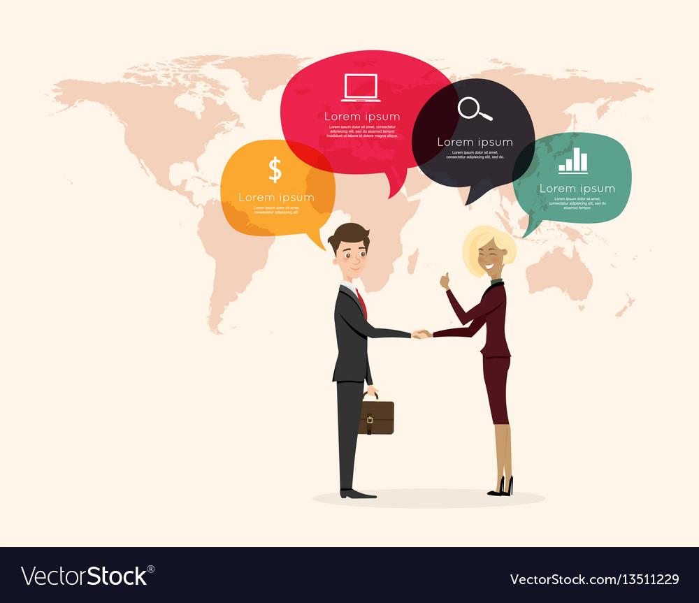 Businessman handshake with world map background vector image