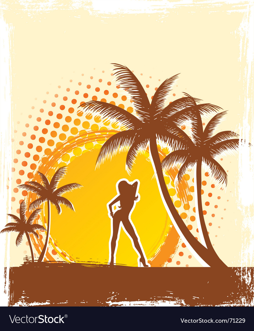 Palm sun vector image