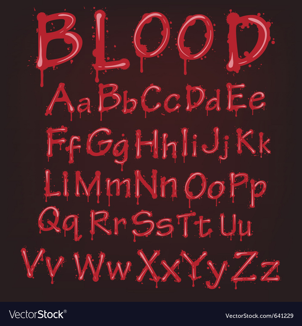Red blood alphabet vector image