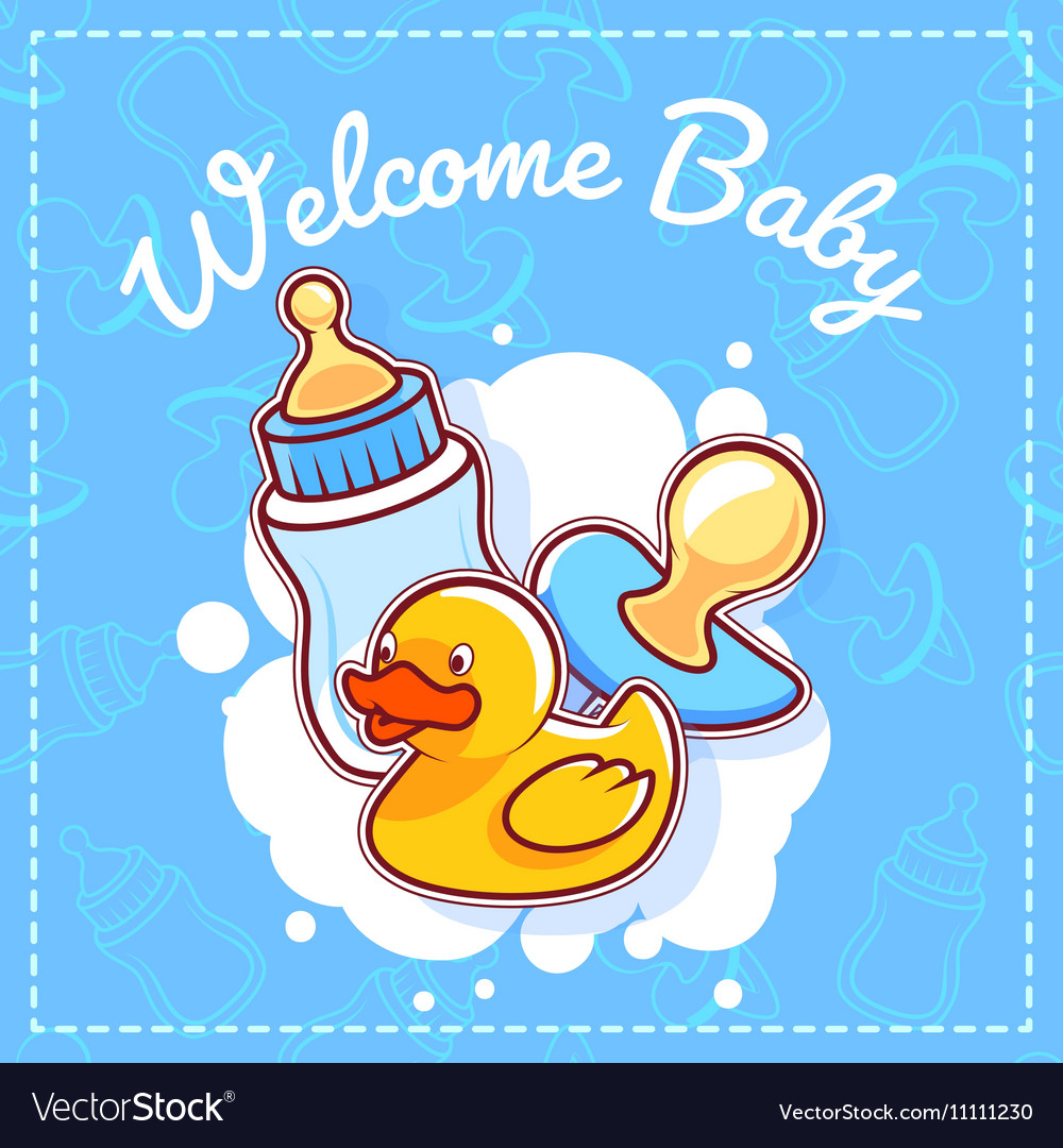 Baby shower card welcome baby royalty free vector image baby shower card welcome baby vector image kristyandbryce Choice Image