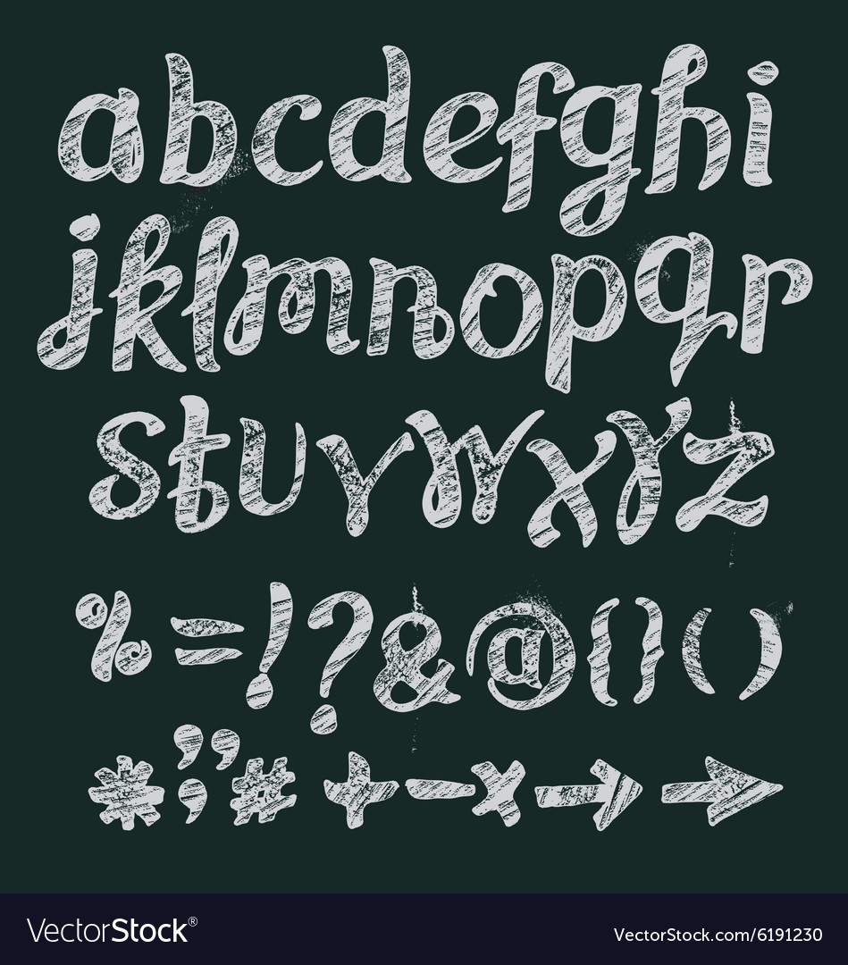 Chalk alphabet hand drawn font vector image