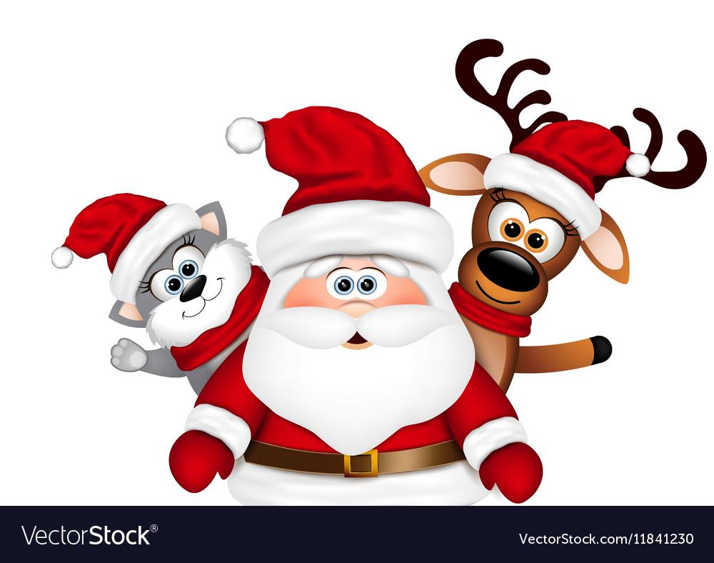 christmas card santa with reindeer and cat vector image - Santa With Reindeer