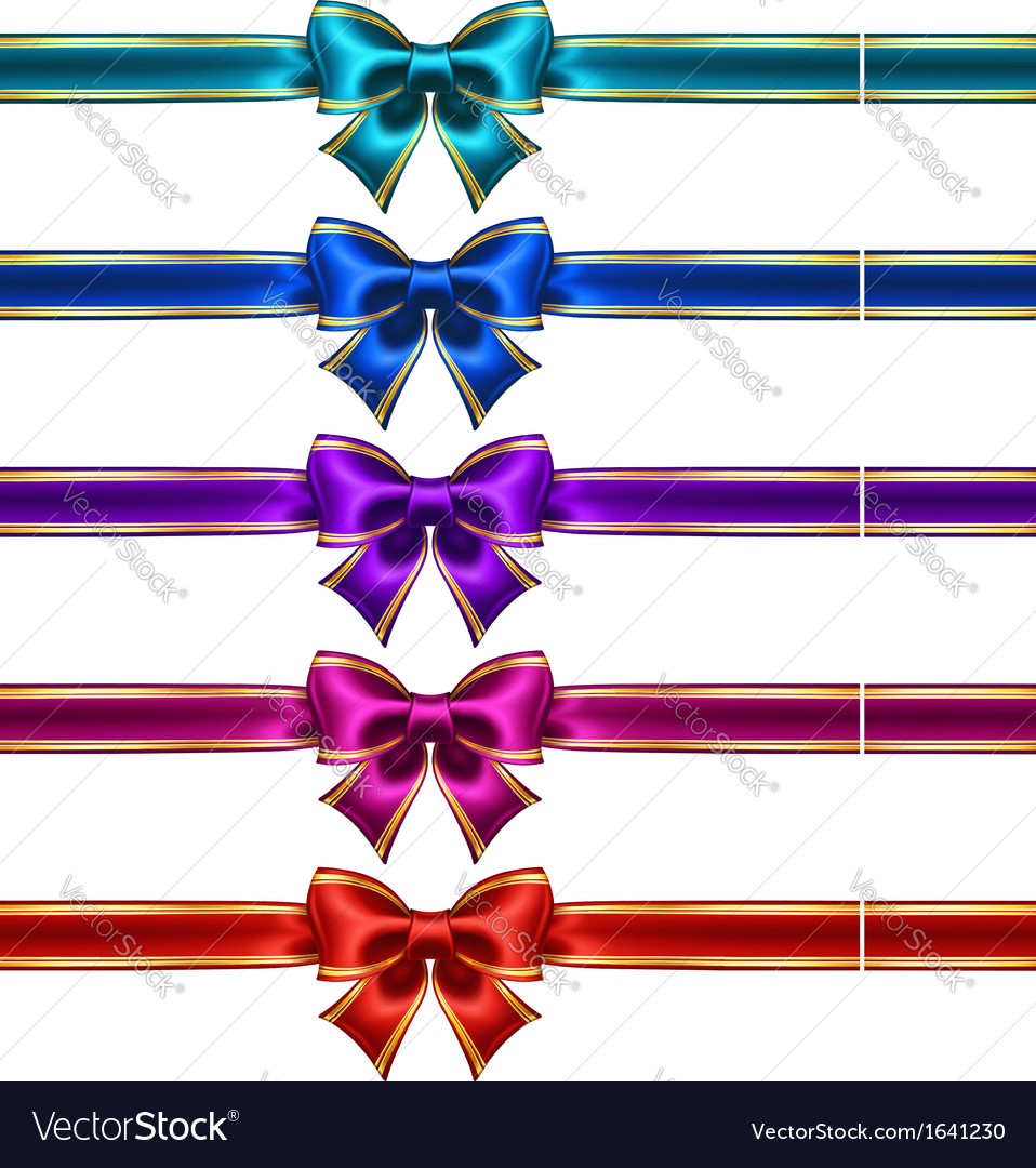 Set of silk bows with ribbons and golden edging vector image