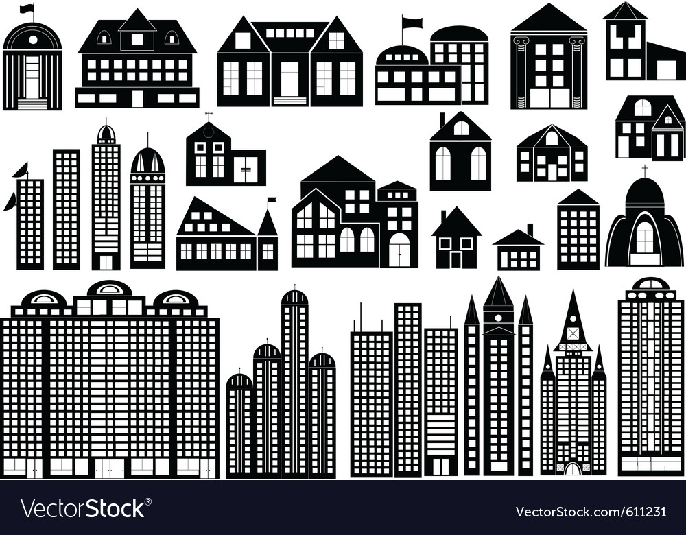 Building silhouettes vector image