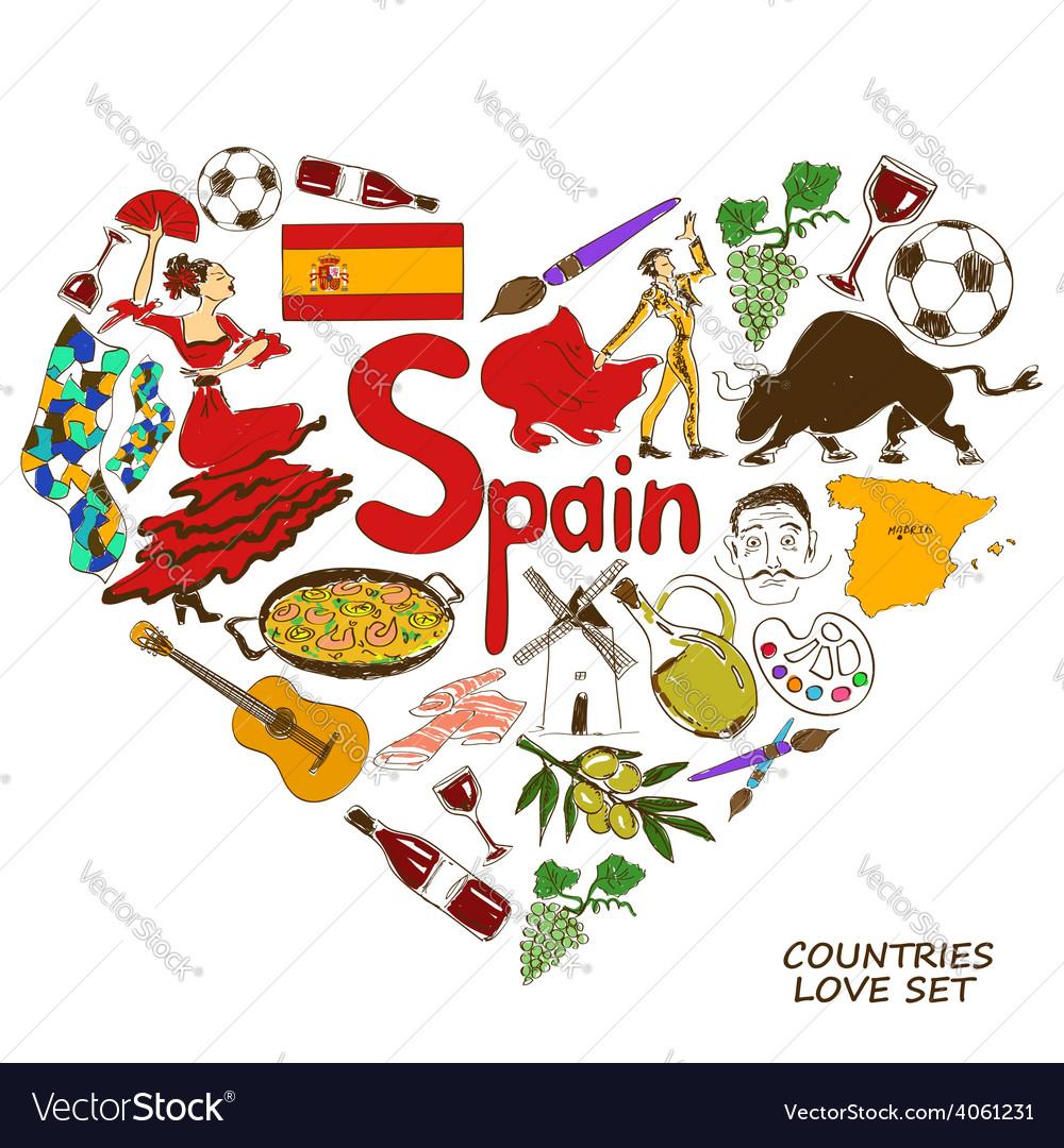 Spanish symbols in heart shape concept royalty free vector spanish symbols in heart shape concept vector image biocorpaavc Choice Image