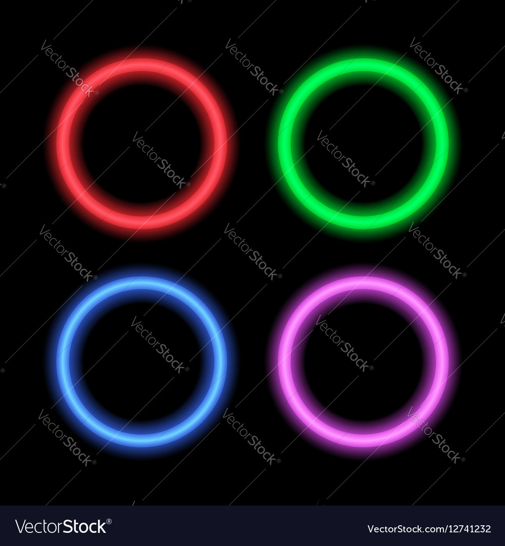 Neon signboard for design circles vector image