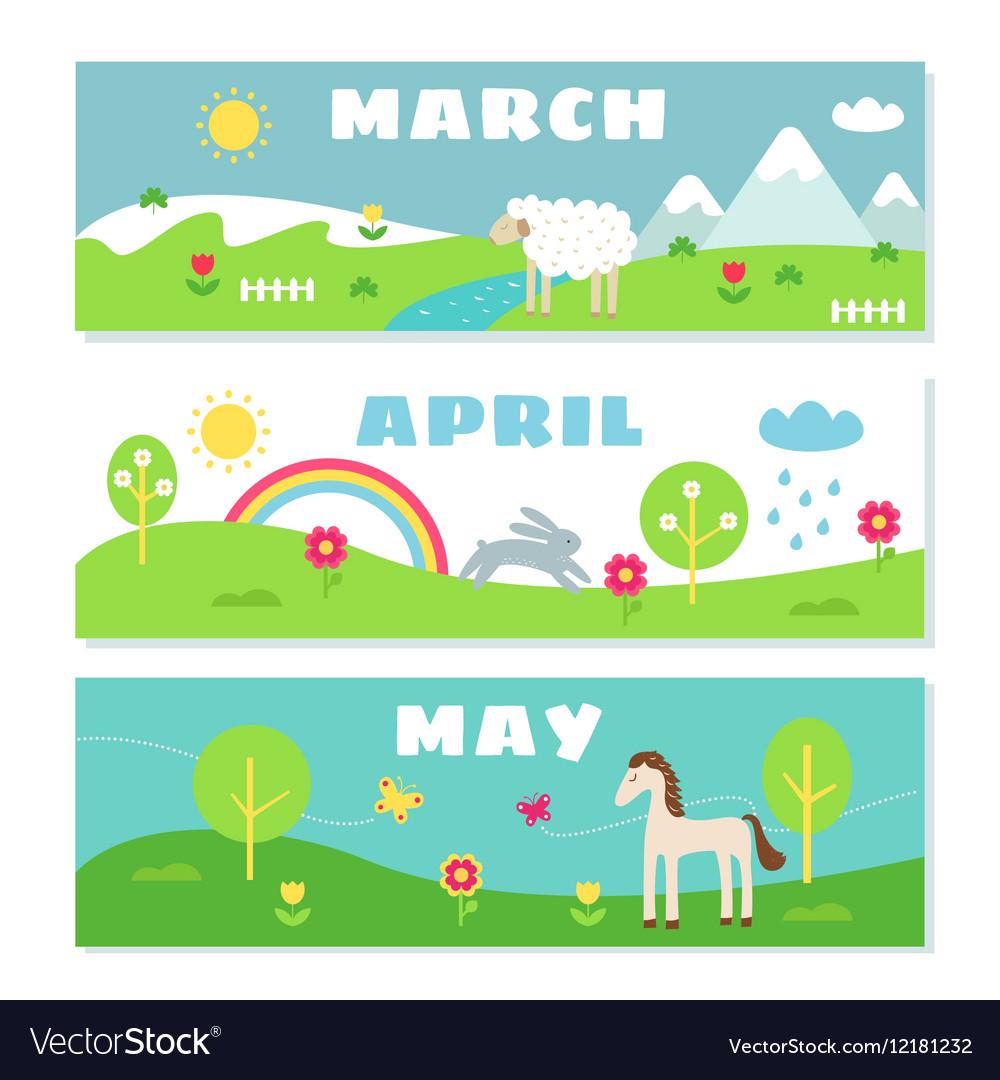 Spring Months Calendar Flashcards Set Nature vector image
